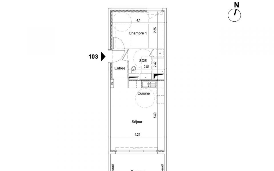Nizza – Appartamento 2 Camera/e 43,7 m² ultimo piano : plan