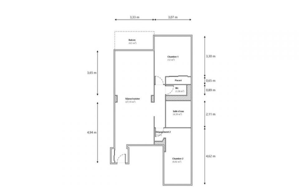 Nice – Coeur Cimiez – Dans résidence luxe magnifique 3 pièces vue mer et jardins : plan