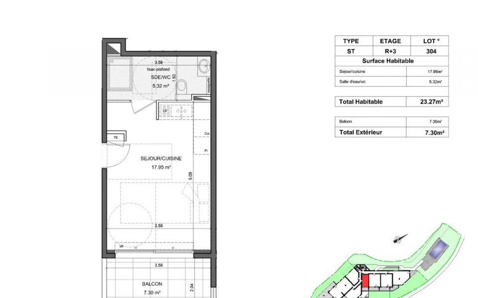 Your studio on the top floor with terrace in new residence : plan
