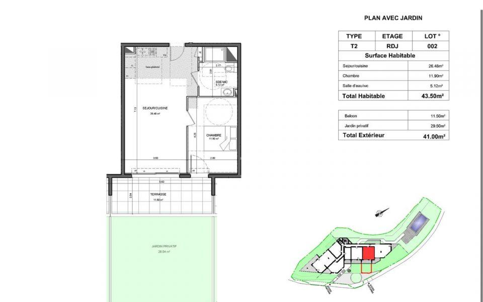 Grand et luxueux 2 pièces avec jardin et terrasse dans une résidence neuve : plan