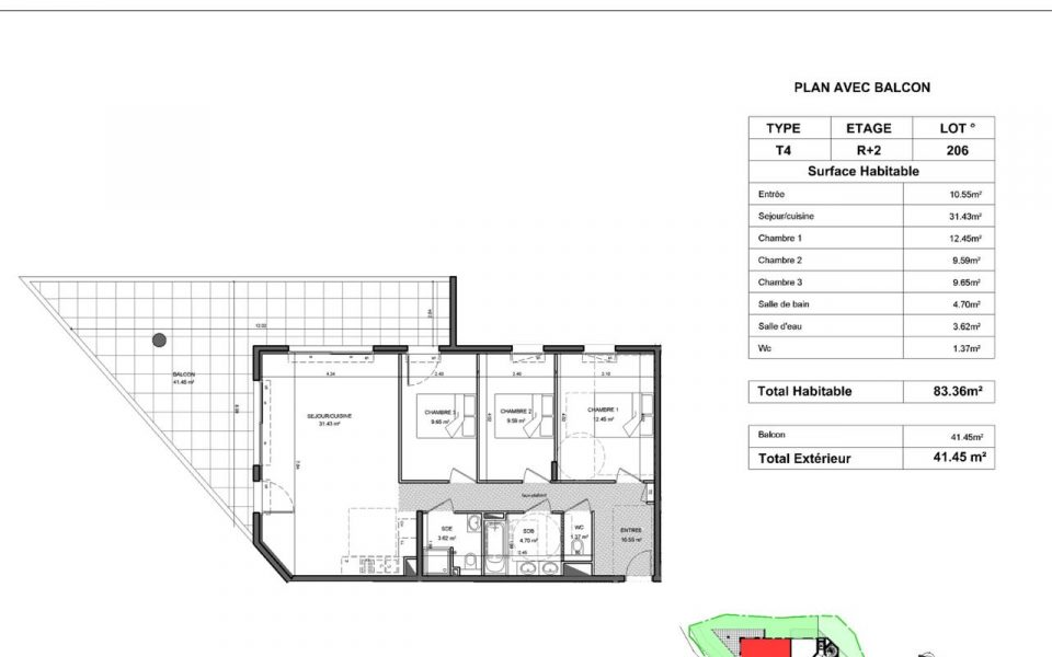 Prestigious 4-room apartment in a new residence in Cimiez : plan