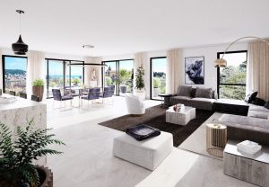 Luxurious new 2 bedrooms top floor apartment with panoramic sea view