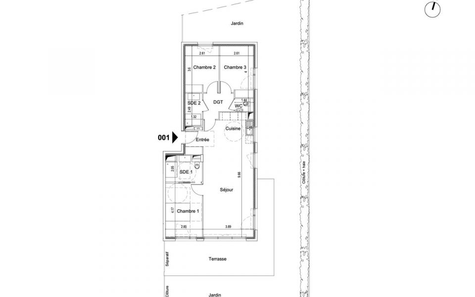 Nice 3 Bedooms Apartment 83 sqm on Garden Level in Luxury Residence With Garden : plan