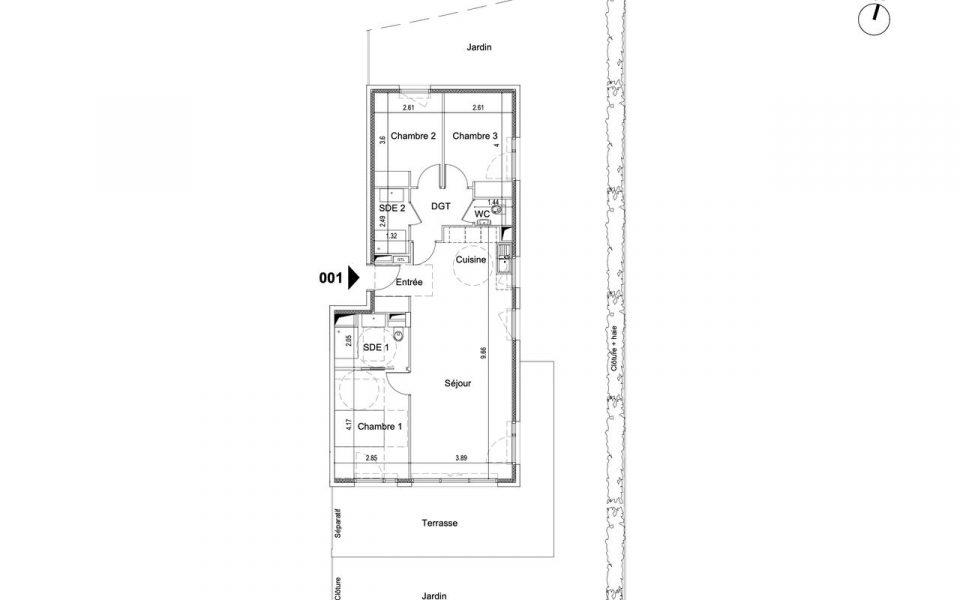 Beau 4 Pièces 83.7 m² en rez de jardin dans résidence luxe avec jardin : plan