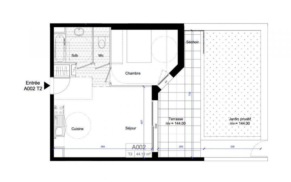 Nizza Ovest – Bilocale 44 m² piano terra con giardino : plan