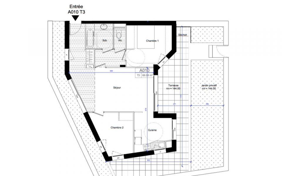 Nice West – Two bedrooms Apartment 68 sqm With Ground Floor : plan