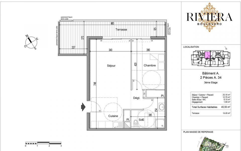 Confortable 2 pieces avec terrasses dans programe neuf à Cimiez : plan