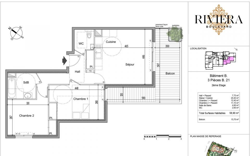 Contemporary 2 Bedrooms Apartment of 58.9 sqm in Cimiez : plan