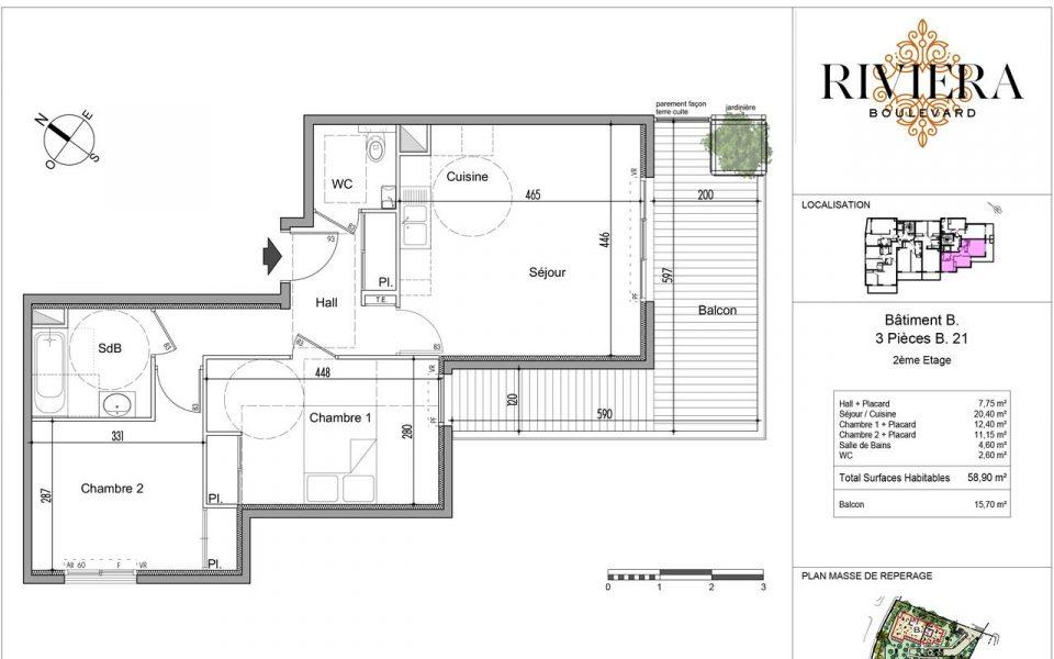 Appartement de 3 Pièces avec grande terrasse à Cimiez : plan