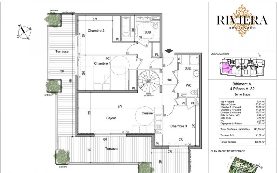 Wonderful 3 Bedrooms of 80.15 sqm With a Large Terrace : plan