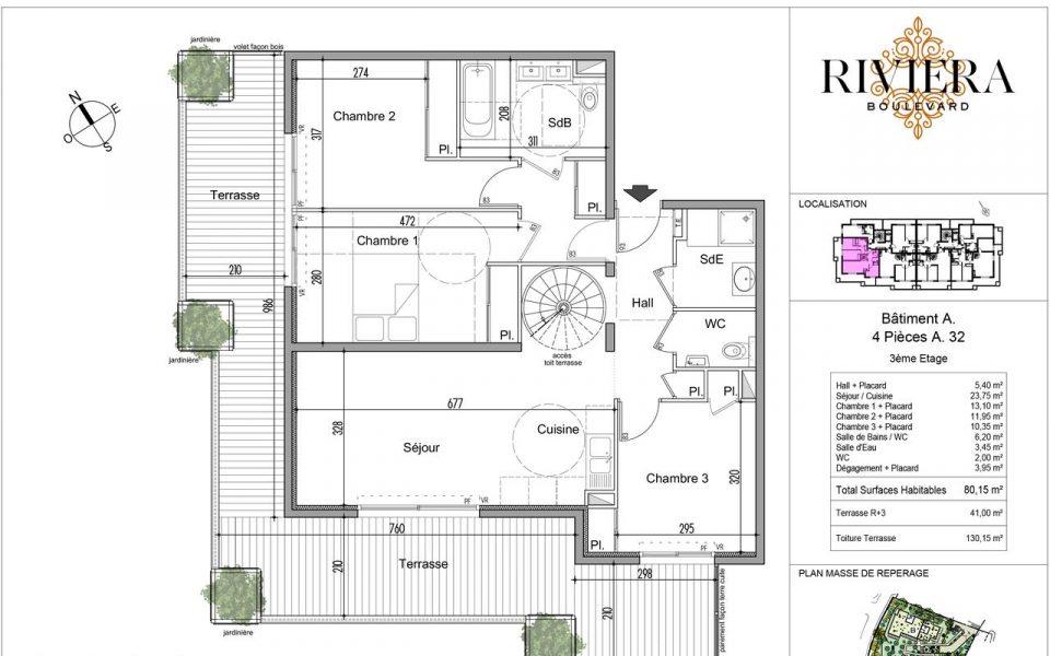 Sontuoso 4 Camere di 80,15 m2 con grande terrazza : plan
