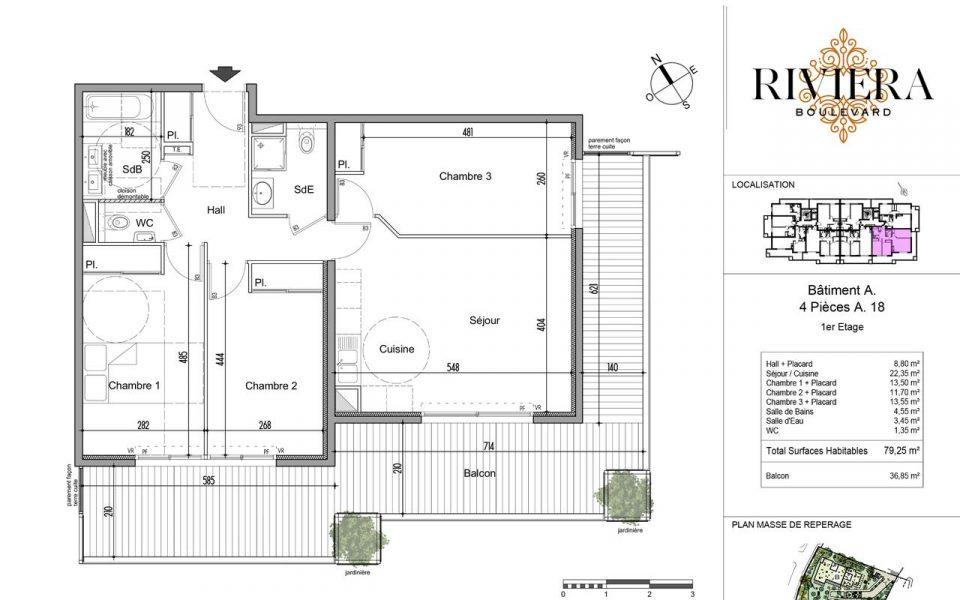 Appartement de 4 pièces dans résidence neuve à Cimiez : plan