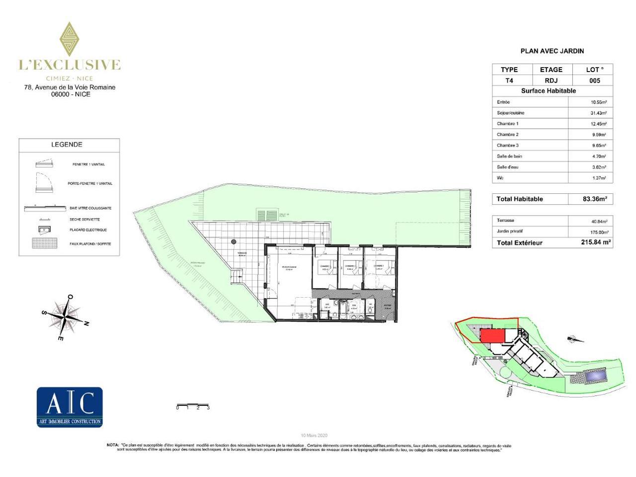 4 pièces de prestige dans une résidence neuve à Cimiez : plan