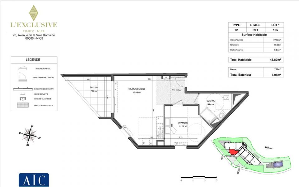 Nice Cimiez – One Bedroom Apartment Fully Renovated in Residence with Swimming Pool on the Top Floor : plan