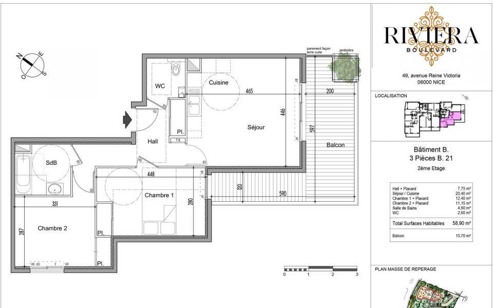 Warm 2 Bedrooms of 58.9 sqm : plan