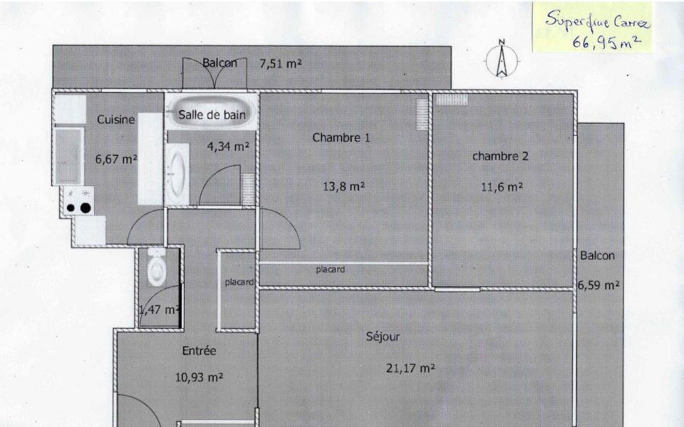 Nice Cimiez – Charming 2 Bedrooms Apartment in a Residence With Park : plan