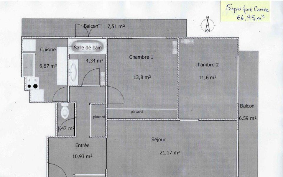 Appartamento di 3 locali immerso in un parco alberato in vendita : plan
