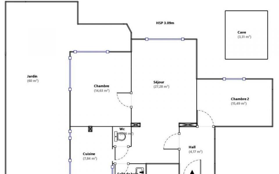 Nice Coeur Cimiez – Grand 3 Pièces de 73 m²  en Rez de Jardin proche Monoprix : plan