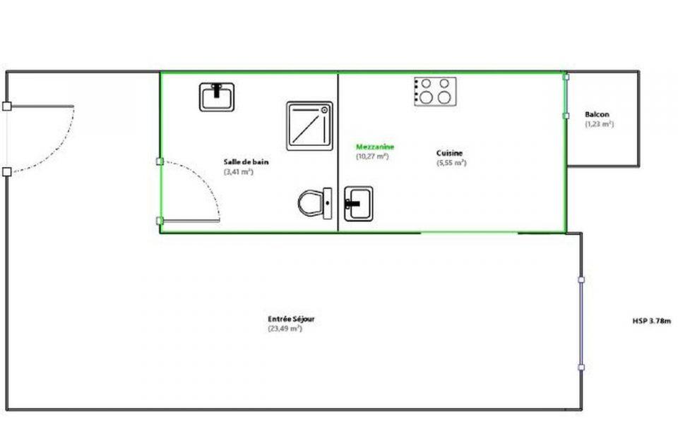 Nice Cimiez – Très beau studio 32,45 m² avec mezzanine 10 m2 dans un Palace : plan