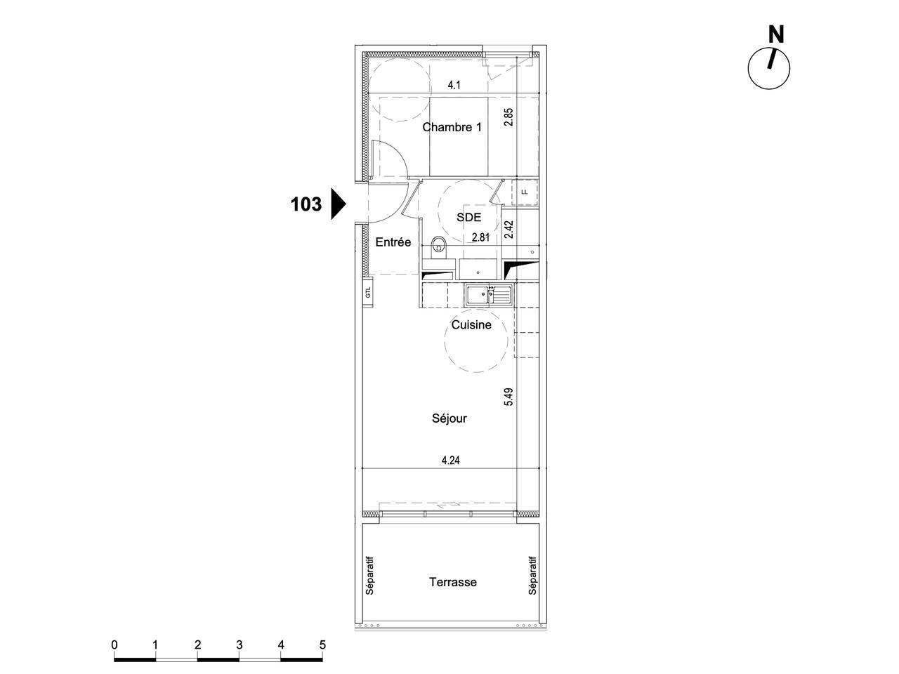 Nice – 2 Pièces avec terrasse en dernier étage : plan
