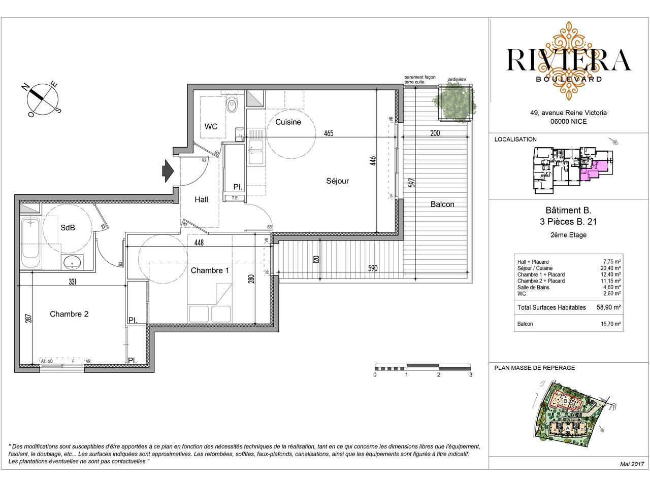 Appartement neuf de 3 pièces avec terrasse à Cimiez : plan