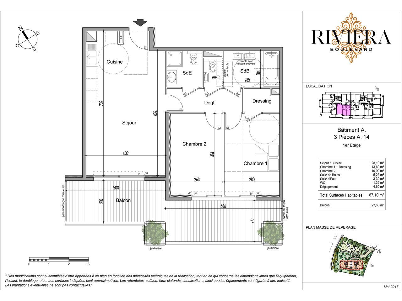 Appartement de 3 Pièces avec terrasse de 23 m² dans un environnement calme : plan