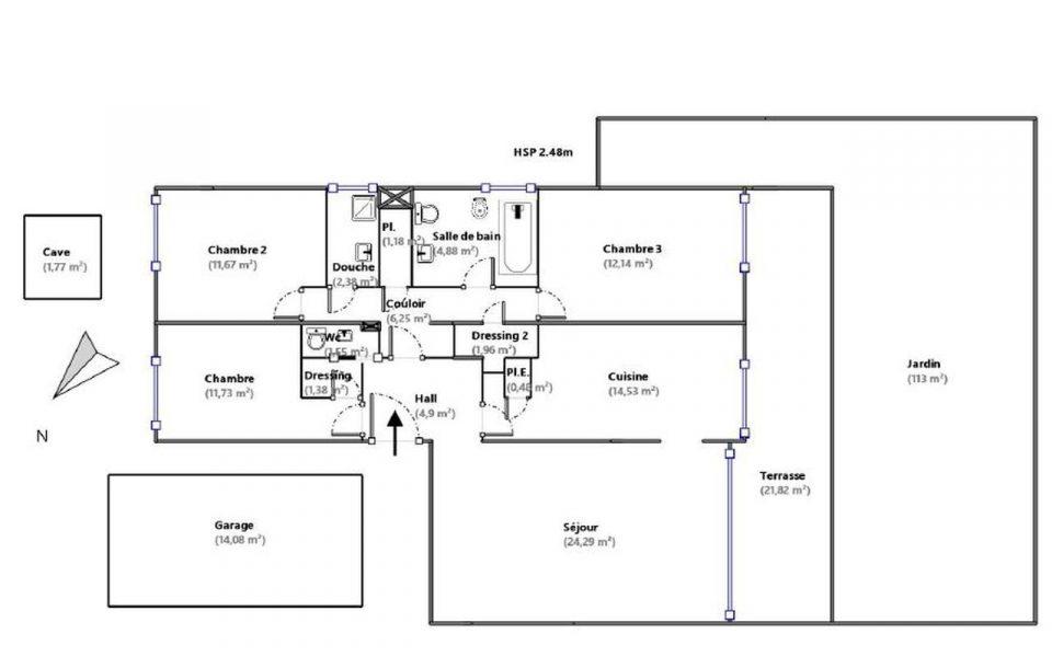 Nizza Cimiez – 3 Camere con terrazza e giardino di 113m2 : plan